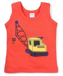 Babyhug Sleeveless Vest Crane Print - Yellow