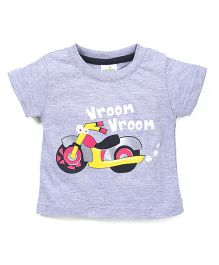 Babyhug Vroom & Bike Print T-Shirt - Grey