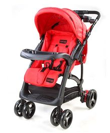 Luv Lap Baby Sports Stroller With Canopy Red And Black - 18156