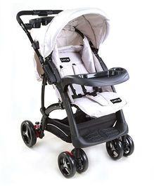 Luv Lap Baby Sports Stroller With Canopy Grey And Black - 18157