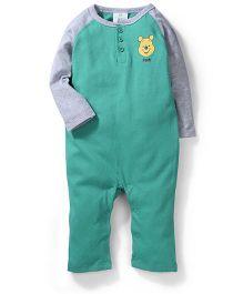 Fox Baby Raglan Sleeves Pooh Printed Rompers - Green & Grey