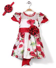 Pinehill Floral Party Dress With Headband - White And Red