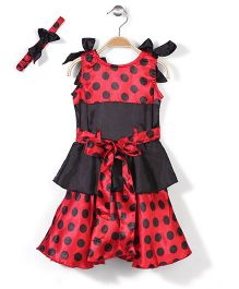 Pinehill Polka Dot Print Dress With Headband - Red And Black