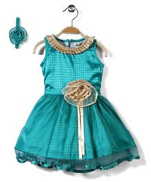 Pinehill Checkered Party Dress With Headband - Green