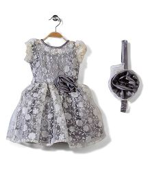 Pinehill Cap Sleeves Party Dress With Headband And Floral Accent - Silver