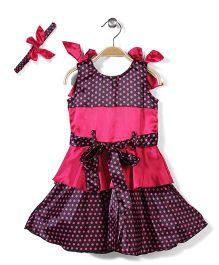 Pinehill Layered Dress With Headband - Pink And Black