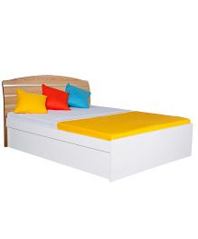 Alex Daisy Queen Size Wooden Bed Country - Oak & White