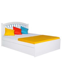 Alex Daisy French Queen Size Wooden Bed - White and Blue
