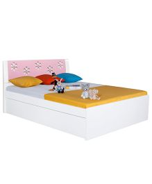 Alex Daisy Zest Wooden Queen Size Bed - White and Pink