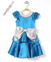 Pinehill Metal Polka Dots Party Dress With Headband - Blue