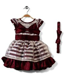Pinehill Stripes Party Dress With Headband - Maroon Cream