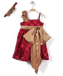 Pinehill Balloon Pattern Dress With Headband Checks Print - Maroon