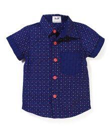 Pinehill Half Sleeves Printed Shirt  - Navy Blue
