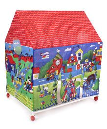 Lovely Play Tent House City Print - Blue Green