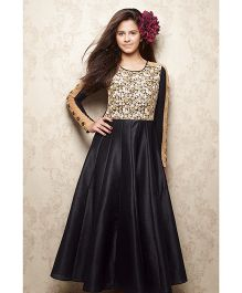Doll Full Sleeves Party Wear Frock Sequin Work - Black