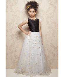 Doll Sleeveless Ornate Party Wear Frock - Black White