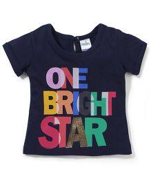 Babyhug One Bright Star Print Short Sleeves Top - Navy