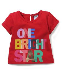 Babyhug One Bright Star Print Short Sleeves Top - Red