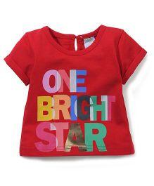 Babyhug One Bright Star Print Short Sleeves Top - Red