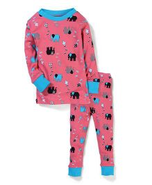 New Jammies Organic Cotton Night Suit Elephant Print - Pink