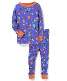 New Jammies Organic Cotton Night Suit Rocket Print - Royal Blue