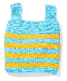 Babyhug Sleeveless Striped Sweater - Light Blue