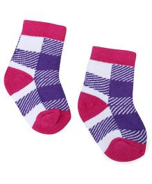 Cute Walk by Babyhug Stripes Ankle Length Socks - Fuchsia & Blue