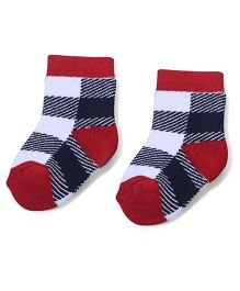 Cute Walk by Babyhug Stripes Ankle Length Socks - Red & Navy