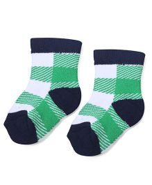 Cute Walk by Babyhug Stripes Ankle Length Socks - Green & Navy