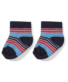 Cute Walk by Babyhug Stripes Ankle Length Socks - Navy