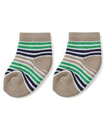 Cute Walk by Babyhug Stripes Ankle Length Socks - Beige