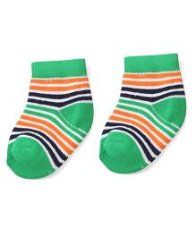 Cute Walk by Babyhug Stripes Ankle Length Socks - Green