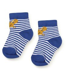 Cute Walk Ankle Length Socks Stripes Print - Royal Blue And White