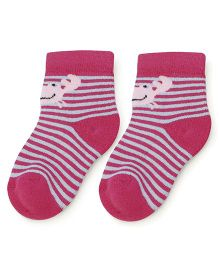 Cute Walk Ankle Length Socks Stripes Print - Fuschia And Blue