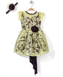 Pinehill Party Dress And Headband With Floral Accent - Yellow