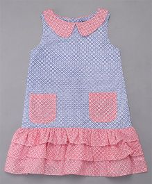 The Dragon & the Rabbit Gingham Print Dress - Navy & White