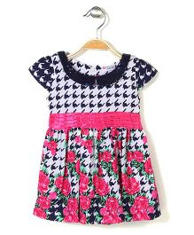 Peppermint Floral Printed Cap Sleeves Frock - White & Pink