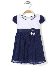 Peppermint Cap Sleeves Party Wear Frock - White & Navy