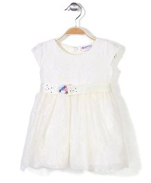 Peppermint Embroidered Cap Sleeves Party Frock - Off White