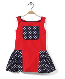 The DRAGON and the RABBIT Side Pleat Polka Print Dress - Red & Navy
