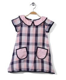 The DRAGON and the RABBIT Peter Pan Checks Dress - Pink & Navy Blue