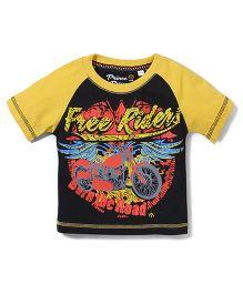 Prince And Princess Half Sleeves Printed T-Shirt - Black Yellow