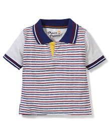 Prince And Princess Half Sleeves Stripes T-Shirt - White Blue