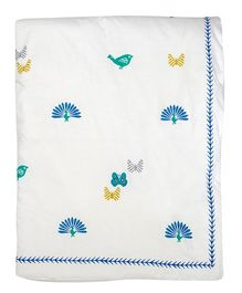 Cocobee Trendy Butterfly & Bird Design Baby Blanket - O)ff White