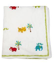 Cocobee Trendy Animal Design Baby Blanket - Off White