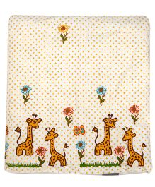 Cocobee Trendy Giraffe & Flower Design Blanket - Cream
