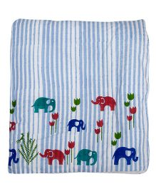 Cocobee Trendy Elephant Design Blanket - Blue