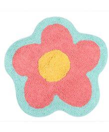 Saral Home Floor Mat Flower Shape - Peach & Yellow