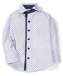 Babyhug Full Sleeves All Over Printed Shirt - White