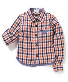 Pinehill Full Sleeves Plaid Shirt - Orange And Blue